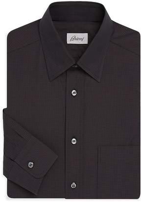 Brioni Men's Gingham-Print Cotton Dress Shirt