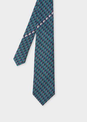 Paul Smith Men's Cobalt Blue 'Box' Print Silk Tie