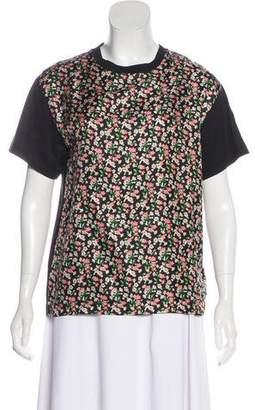 Moncler Floral Print Silk-Paneled Top w/ Tags
