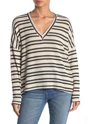 ALL IN FAVOR Striped Drop Shoulder V-Neck Sweater
