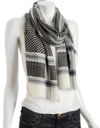 Kashmere black printed featherweight cashmere scarf