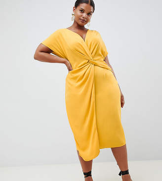 Asos DESIGN Curve twist midi dress with kimono sleeve