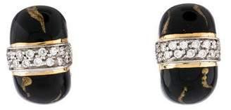S.O.H.O New York 18K Enamel & Diamond Huggies