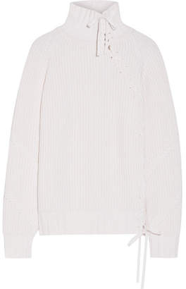 Karl Lagerfeld Lace-up Ribbed-knit Turtleneck Sweater - Ivory