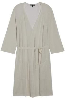 Eileen Fisher Long Organic Linen Blend Kimono Cardigan