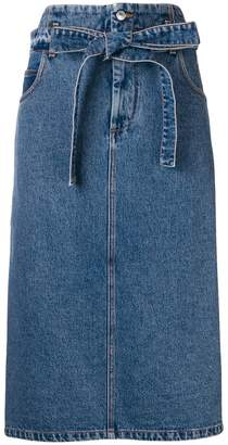 MSGM denim midi skirt