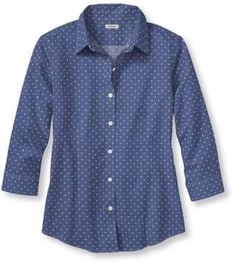 L.L. Bean L.L.Bean Wrinkle-Free Pinpoint Oxford Shirt, Three-Quarter Sleeve Slightly Fitted Dot