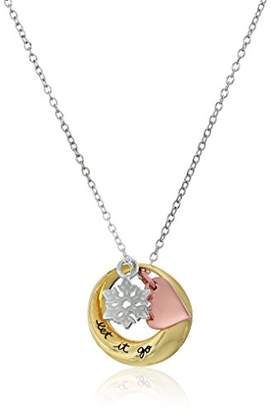 Disney Tri-Colored Open Circle Let it Go Heart and Snowflake Charm Pendant Necklace