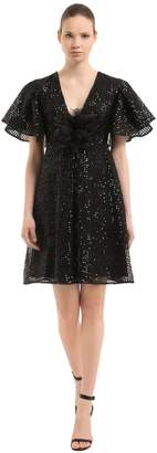 Sequined Mini Dress W/ Flower Appliqué