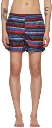 Missoni Blue and Red Multi Zig Zag Swim Shorts