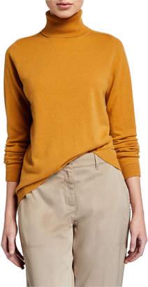 Lafayette 148 New York Cashmere Metallic-Trim Turtleneck Sweater