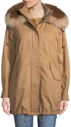 Derek Lam 10 Crosby Fur-Hood Parka with Removable Vest