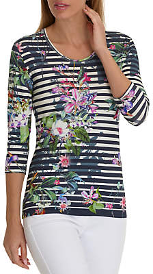 Betty Barclay Floral Stripe Top, Multi