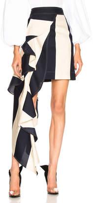 Calvin Klein Large Stripe Print Ruffle Skirt