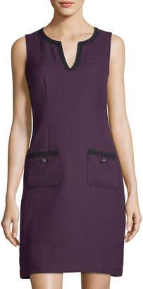 Karl Lagerfeld Paris Split-Neck Pocket Tweed Dress