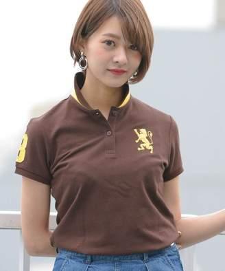 ジョルダーノレディース 2018春夏商品【ライクラ素材使用】3Dライオン刺繍ポロシャツ