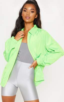 PrettyLittleThing Neon Lime Oversized Shell Suit Jacket