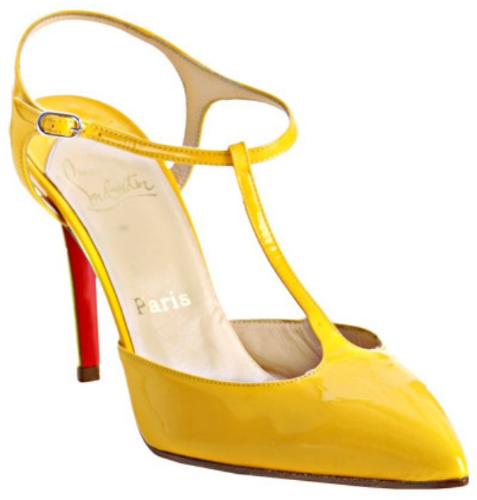 Christian Louboutin yellow patent leather 'Coxinelle' t-strap pumps