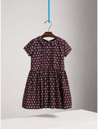 Burberry Pintuck Detail Spot Print Cotton Dress