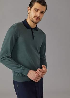 Giorgio Armani Polo Shirt In Knit Cashmere And Silk
