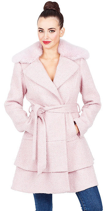 Betsey JohnsonSweetheart Wool Coat With Faux Fur Collar