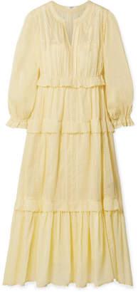 Etoile Isabel Marant Aboni Embroidered Cotton-voile Maxi Dress - Pastel yellow