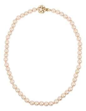 Miriam Haskell Pearl Basics Crystal and Pink Faux Pearl Strand Necklace
