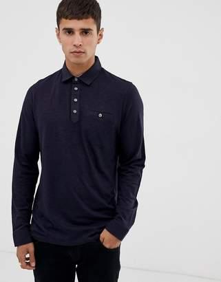 eeda46c3278d Ted Baker long sleeve polo shirt with woven collar