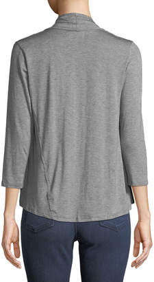 Neiman Marcus 3/4-Sleeve Shawl-Collar Cozy Cardigan