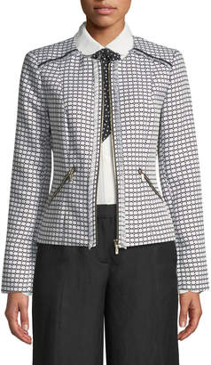 Karl Lagerfeld Paris Dobby-Jacquard Fringed Topper Jacket