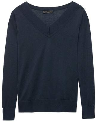 Banana Republic Silk Cashmere Varsity V-Neck Sweater