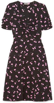 Miu Miu Printed Crepe Dress - Black