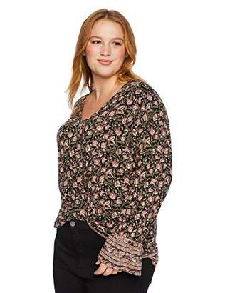 Lucky Brand Women's Plus Size Border Print Cinched Sleeve TOP