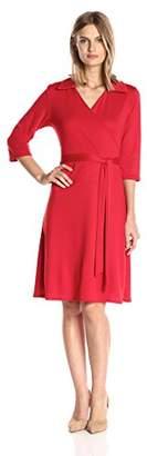 Star Vixen Women's 3/4 Sleeve Faux Wrap Dress with Collar,S