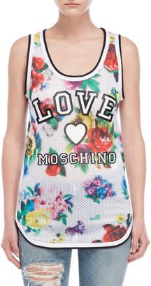 Love Moschino Floral Logo Mesh Tank