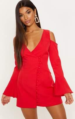 PrettyLittleThing Red Button Detail Cold Shoulder Shift Dress