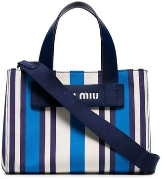 Miu Miu blue small striped canvas tote bag