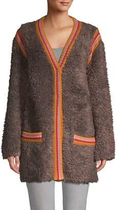 M Missoni Faux-Fur Heavy Cardigan