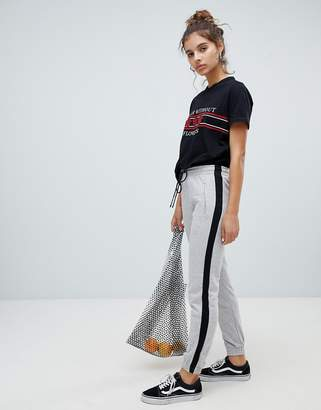 Bershka side stripe jogger pant in gray