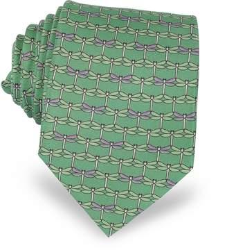 Laura Biagiotti Green Dragonflies Print Twill Silk Tie