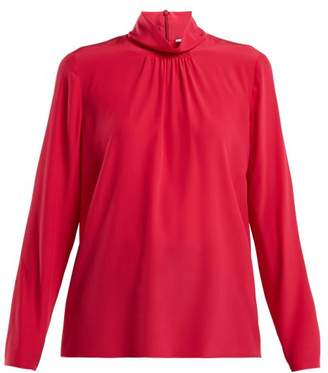 RED Valentino High Neck Silk Blouse - Womens - Pink