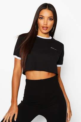 boohoo Embroidered Woman Script Crop Ringer