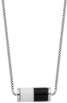 Elle Sterling Silver Posh White and Black Agate Necklace