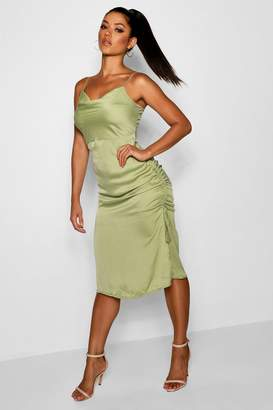 boohoo Cowl Neck Midi Slip with Ruched Detail