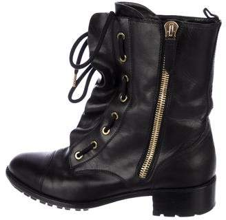Valentino Ruffle Combat Ankle Boots
