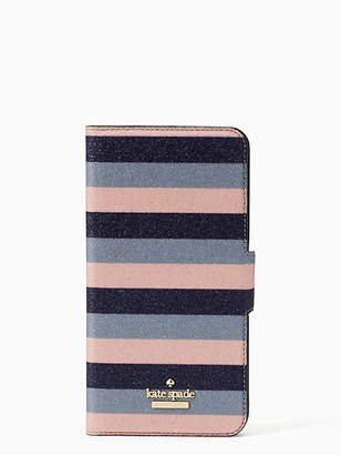 Kate Spade Glitter stripe iphone 7 & 8 plus wrap folio case
