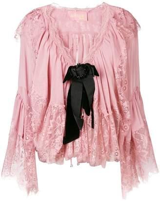Amuse ruffled lace blouse
