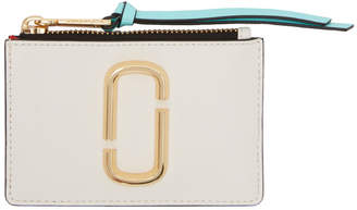Marc Jacobs White and Red Snapshot Top Zip Multi Card Holder