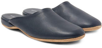 6f31a31aea316 Derek Rose Morgan Leather Slippers - Men - Navy