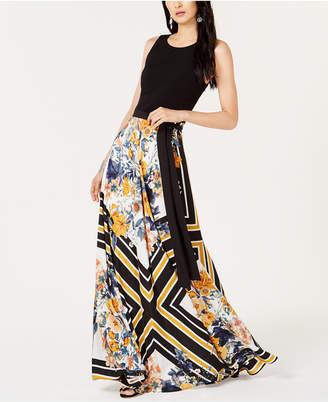 INC International Concepts I.n.c. Petite Tie-Waist Printed-Skirt Dress, Created for Macy's